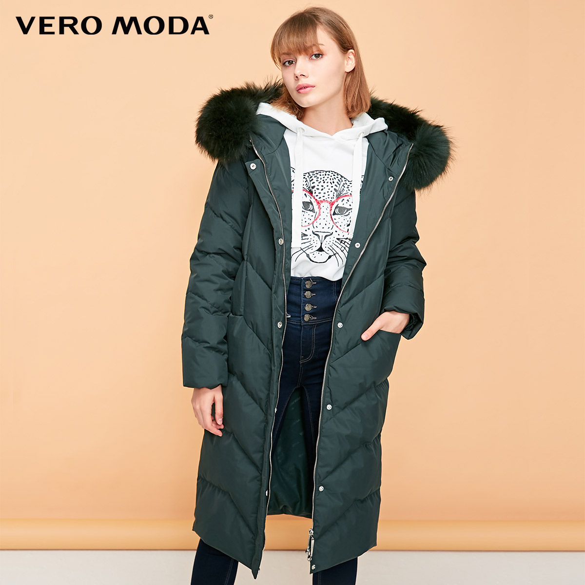 Vero Moda Women's Waist Hooded Raccoon Fur Plaid Long Down Jacket | 318412531