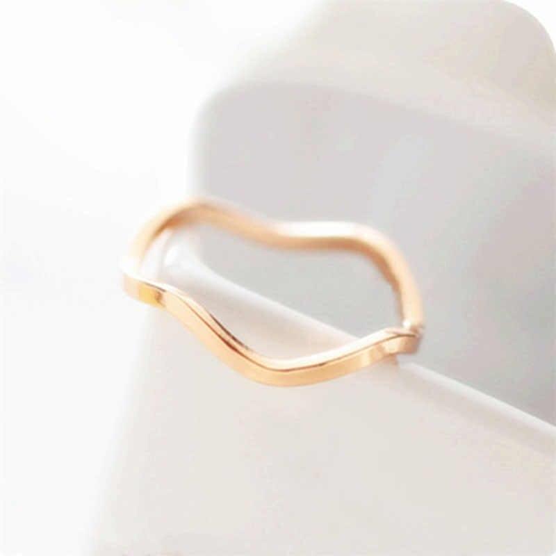 2019 Anillos de aleación de onda de moda para mujeres diseño de curva nudillo anillo de dedo joyería de fiesta Bague Mujer Anillos WD152A
