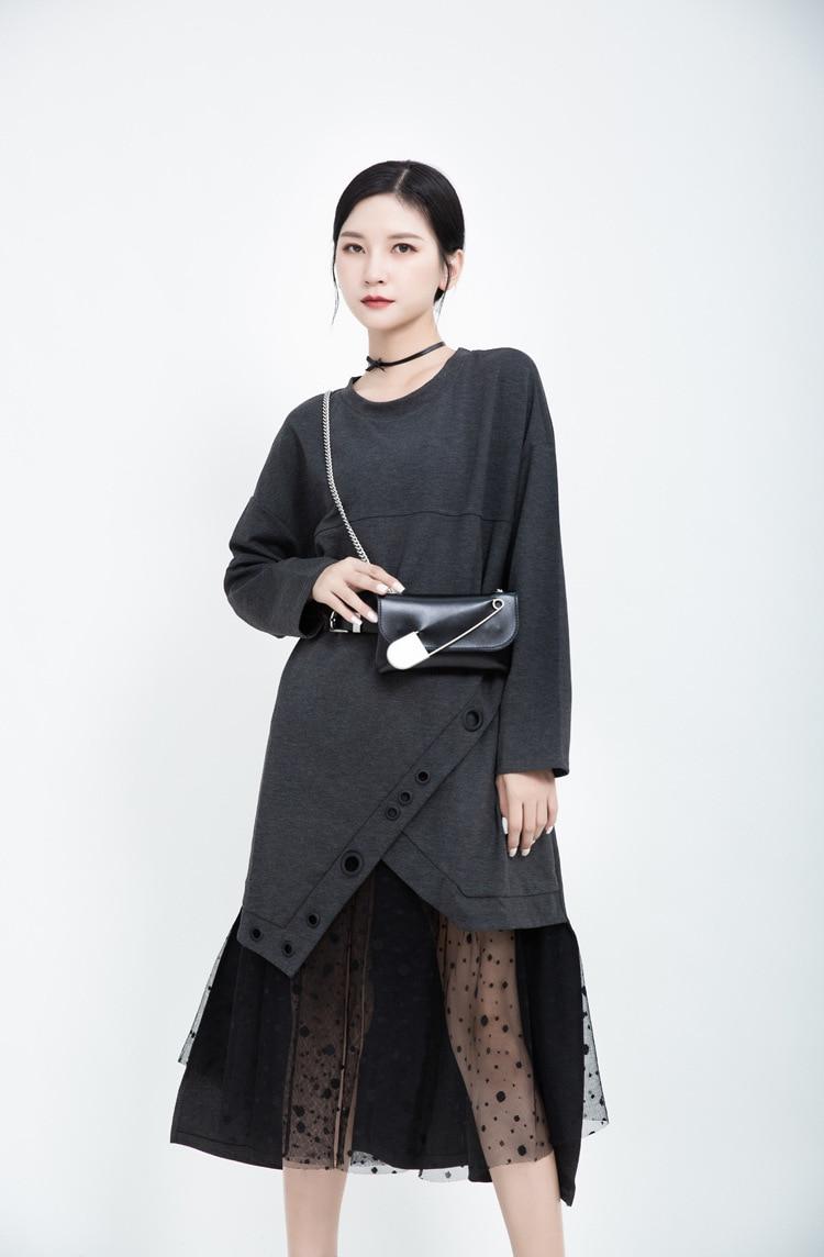 New Fashion Style Dot Mesh Asymmetrical Split Black Dress Fashion Nova Clothing