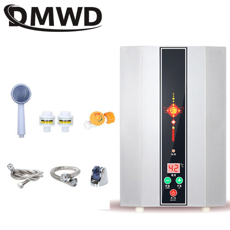 DMWD 5500W Instant Electric Mini Tankless Water Heater Instantaneous Watering Heating Faucet Shower Kitchen Bathroom LED Display