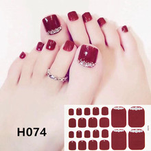 22 Tips/sheet Toe Nail Wraps Full Cover Nails Sticker Art Decorations Manicure Vinyls Adhesive Deco for Women Girls