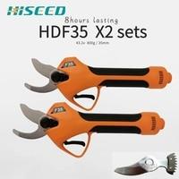 Dois conjuntos hdf35 tesouras de podador elétrico a pilhas podadores mão livre lâmina presente Tesouras elétricas     -