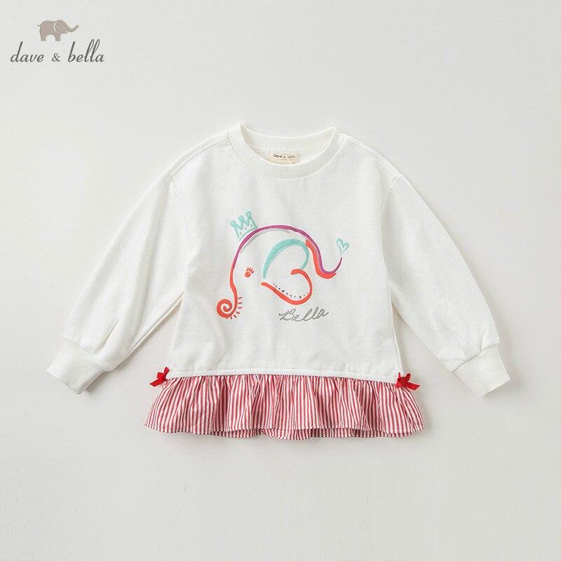 DBK10672 dave bella automne 5Y-13Y enfants vêtements enfants doux arc dessin animé rayé T-shirt filles de haute qualité mode t-shirts - 2