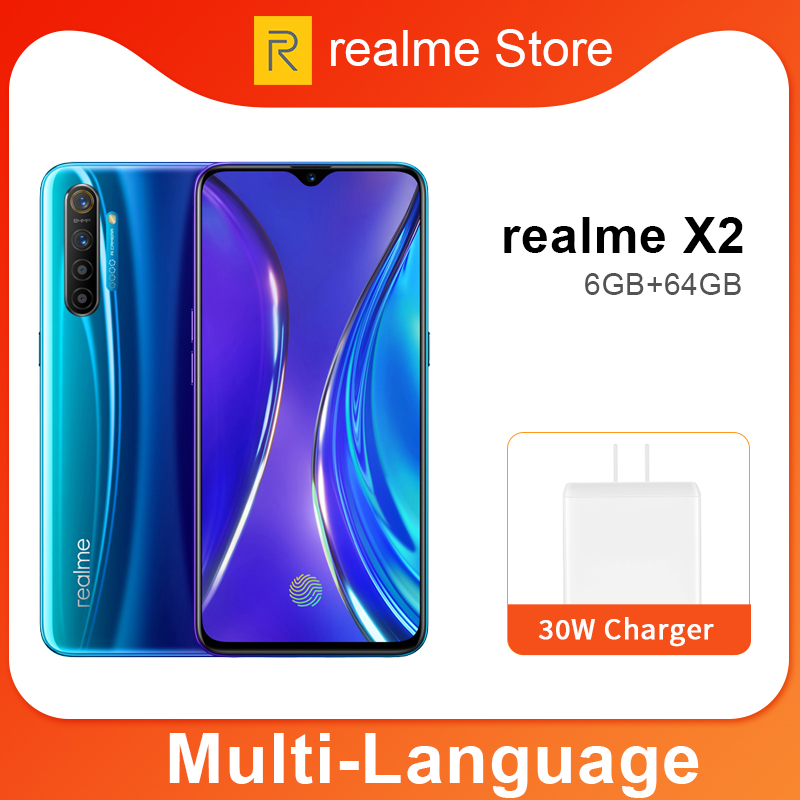 Realme X2 Global Version CN X 2 6.4'' Moblie Phone Snapdragon 730G 64MP Quad Camera NFC Cellphone 30W VOOC Fast Charger