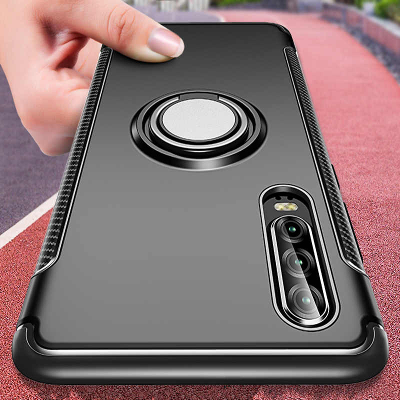 Luxury Silicone Ring Case On The For Huawei P20 P30 Pro Mate 10 20 Lite Phone Cover For Honor 10 Lite 8X Max Holder Back Case