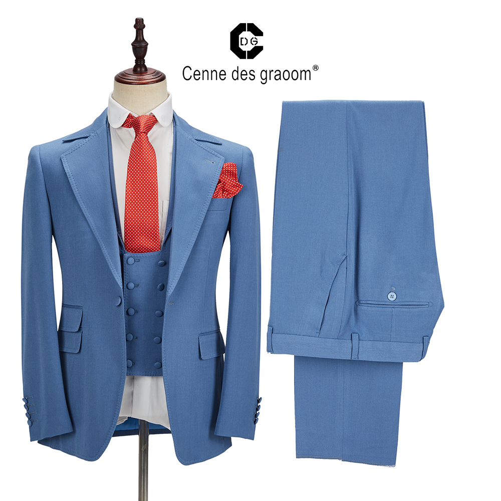 2020 Cenne Des Graoom New Men Suits 3 Pieces Tailor-Made Suit  Costume High Quality Latest Design Casual Groom Wedding Party