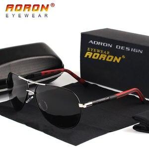 Image 1 - Aoron Gepolariseerde Zonnebril Heren Klassieke Zonnebril UV400 Coating Lens Aluminium Frame Rijden Brillen Voor Mannen