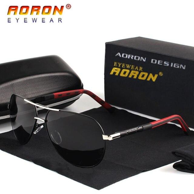 Aoron Gepolariseerde Zonnebril Heren Klassieke Zonnebril UV400 Coating Lens Aluminium Frame Rijden Brillen Voor Mannen