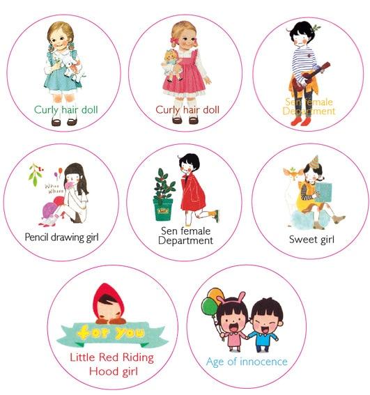 1pcs DIY Cartoon Paper Washi Tape Hood Doll Sweet Girl Decorative Adhesive Tape Stickers/School Supplies 20mm*10M