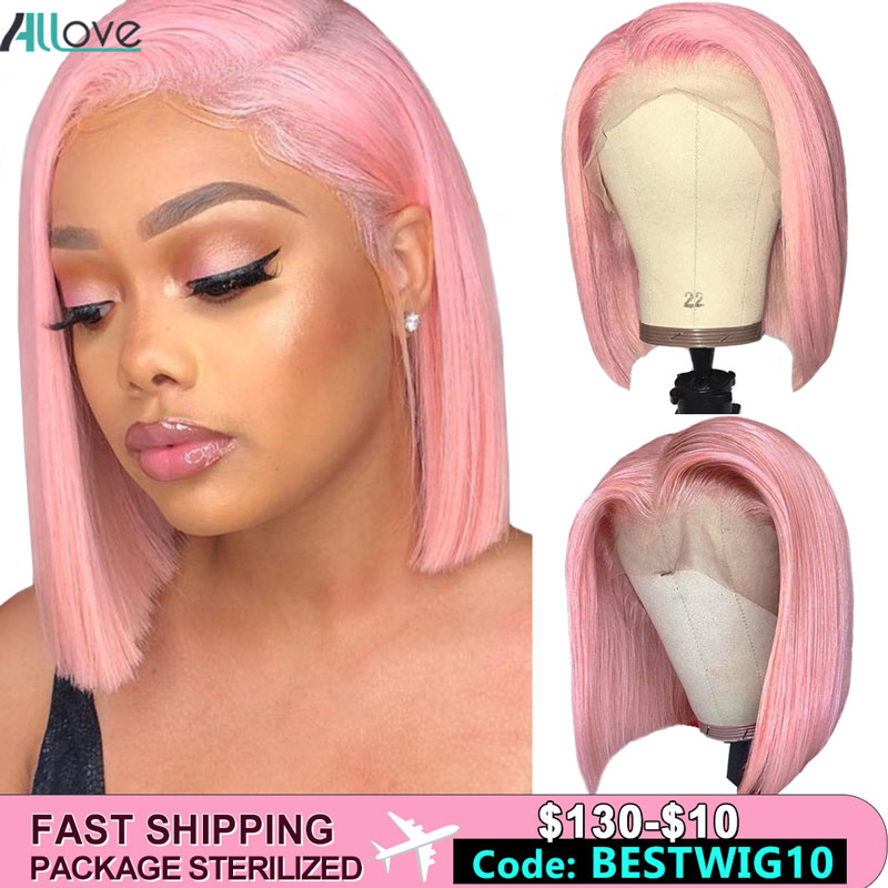 Allove Pink Wig Straight Bob Lace Front Wigs Green Ginger Grey Colored Human Hair Wigs Peruvian 613 Lace Front Wig Ombre Bob Wig