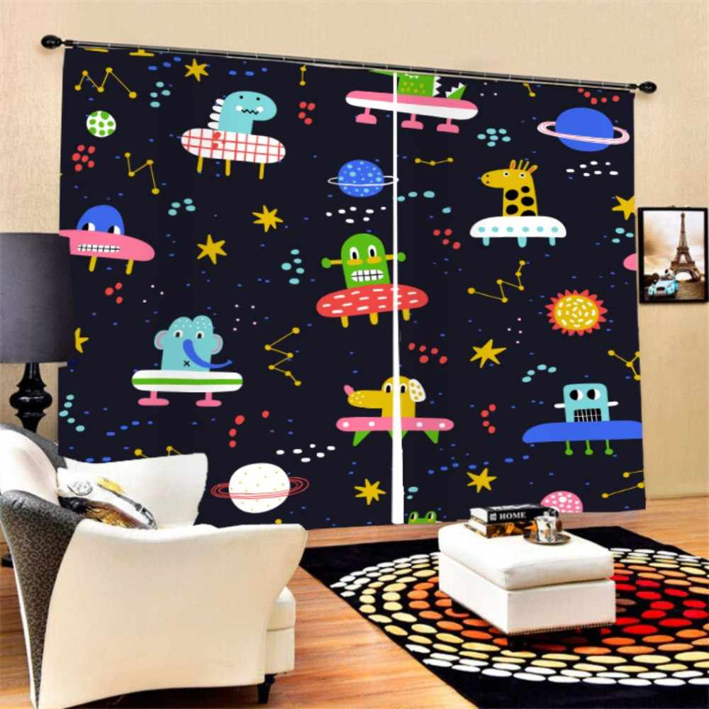 3D Print Alien Spacecraft Planet Window Curtain 2 Panels Polyester Black-out Curtain for Bedroom Living Room Bath Room Decor