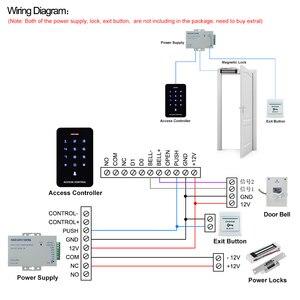 Image 5 - OboタッチパネルアクセスコントロールキーパッドrfidリーダキーボードアクセスコントローラWG26 ドアベルボタン + 10 個EM4100 キーフォブタグ