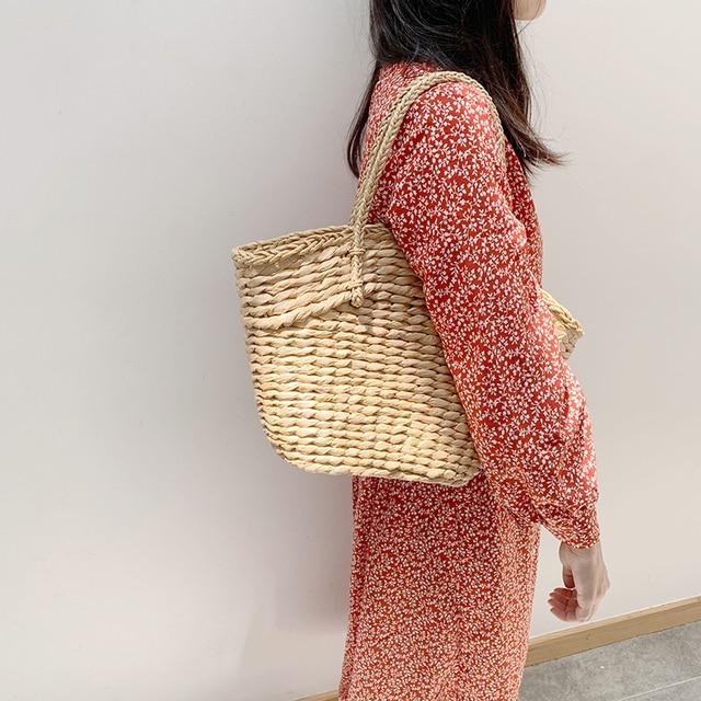 fashion rattan women handbags wicker woven lady shoulder bags summer beach straw bag large capacity tote dot big baskets purses