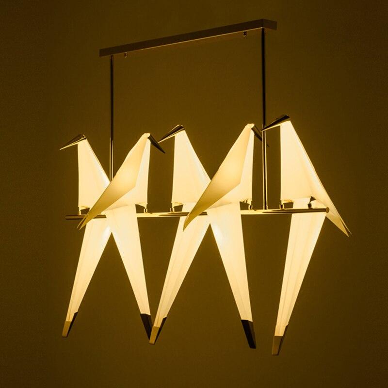 Современный бумажный журавль, металлическая светодиодная люстра, скандинавский ресторан, гостиная, бар, творческая личность, птичья форма