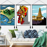 Colgante de isla Tropical de Bali e Indonesia, tela Vintage de algodón, pintura de líneas, póster para decoración del hogar, tapiz colgante de pared, regalo
