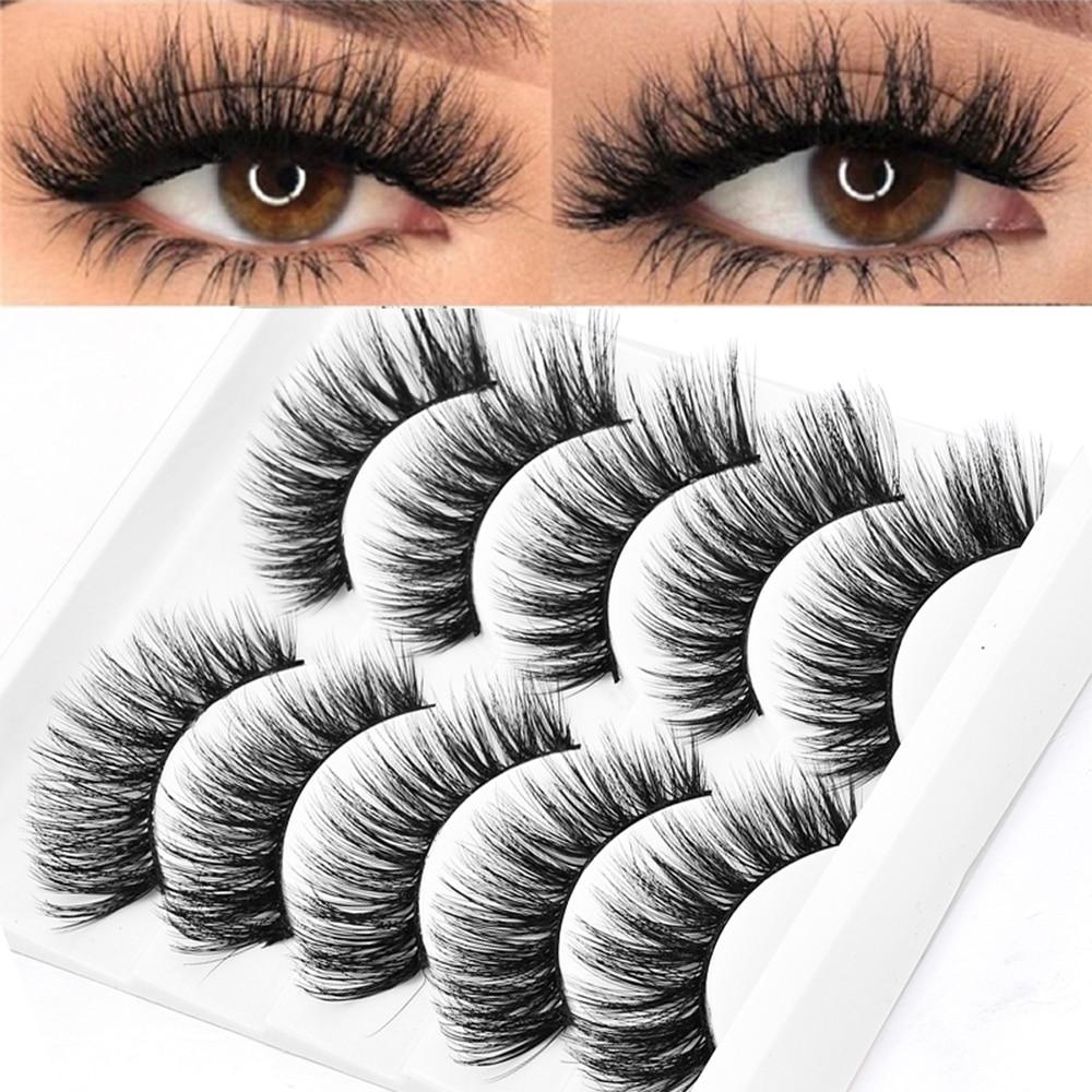 5 Pairs Multipack 5D Soft Mink Hair False Eyelashes Handmade Wispy Fluffy Long Lashes Nature Eye Makeup Tools Faux Eye Lashes(China)