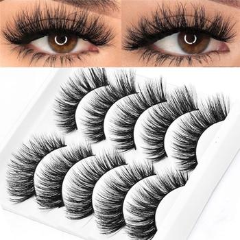5 Pairs Multipack 5D Soft Mink Hair False Eyelashes Handmade Wispy Fluffy Long Lashes Nature Eye Makeup Tools Faux Eye Lashes Beauty Essentials