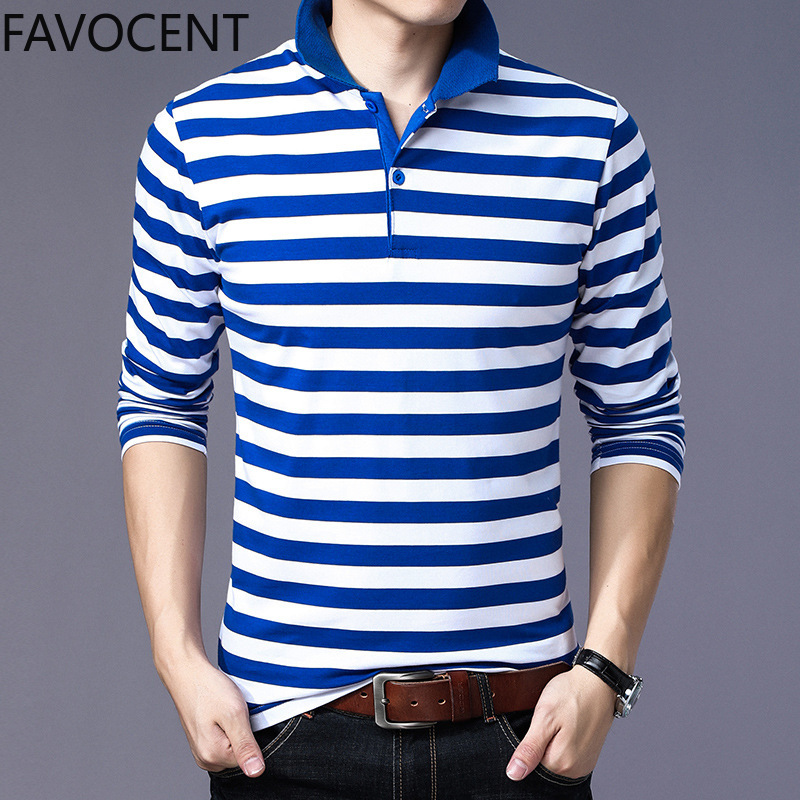 2020 Polo Shirt Men Cotton Casual Long Sleeve Tops Tees Classic Striped Mens Polos Shirts Fanshion Brand Clothes New Polo Shirt