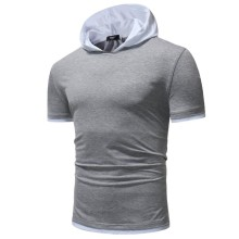 Summer New T Shirt Men Casual Mans T-shirt Contrast Color Hooded Tshirt Minimalism Slim Fit Clothes 2019