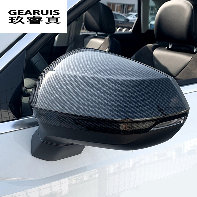 Car Styling Carbon Fiber For Audi Q3 2019 Rearview Mirror Frame Door Mirror Decoration Covers Stickers Trim Auto Accessories