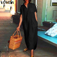 VONDA 2020 Loose Dress 2020 Casual Loose Lapel Button Up Holiday Sexy Long Dress Evening Party Bohem