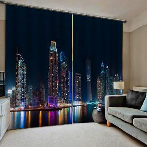 Miasto nocą zasłony budynek 3D zasłona nocny widok drukuj luksusowe Blackout do salonu