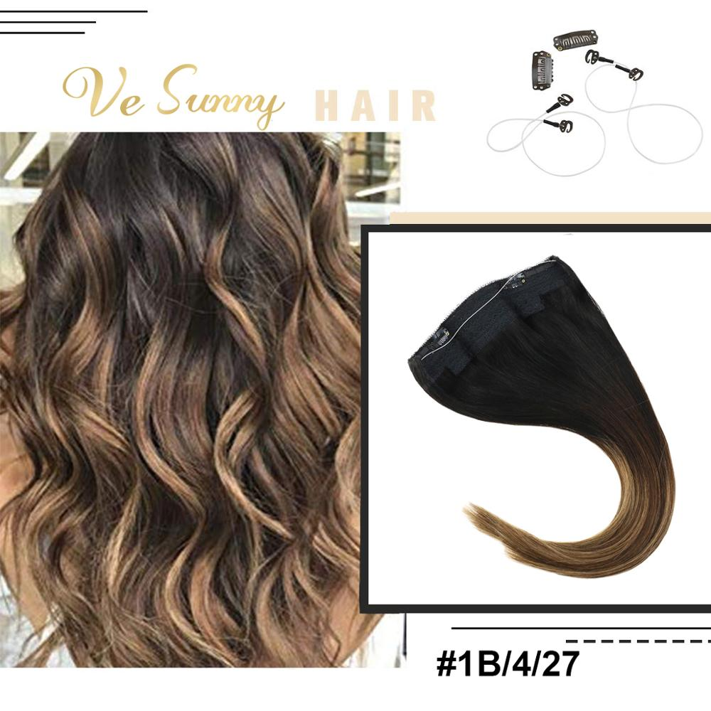 VeSunny Invisible Halo Hair Extensions Real Human Hair Fish Line Flip Wire With Clips Balayage Brown To Caramel Blonde #1B/4/27