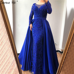 Luxus Rosa Meerjungfrau Abendkleider Emeradald Grün Zug Lange Ärmel Perlen Kristall Abendkleid 2020 LA6172