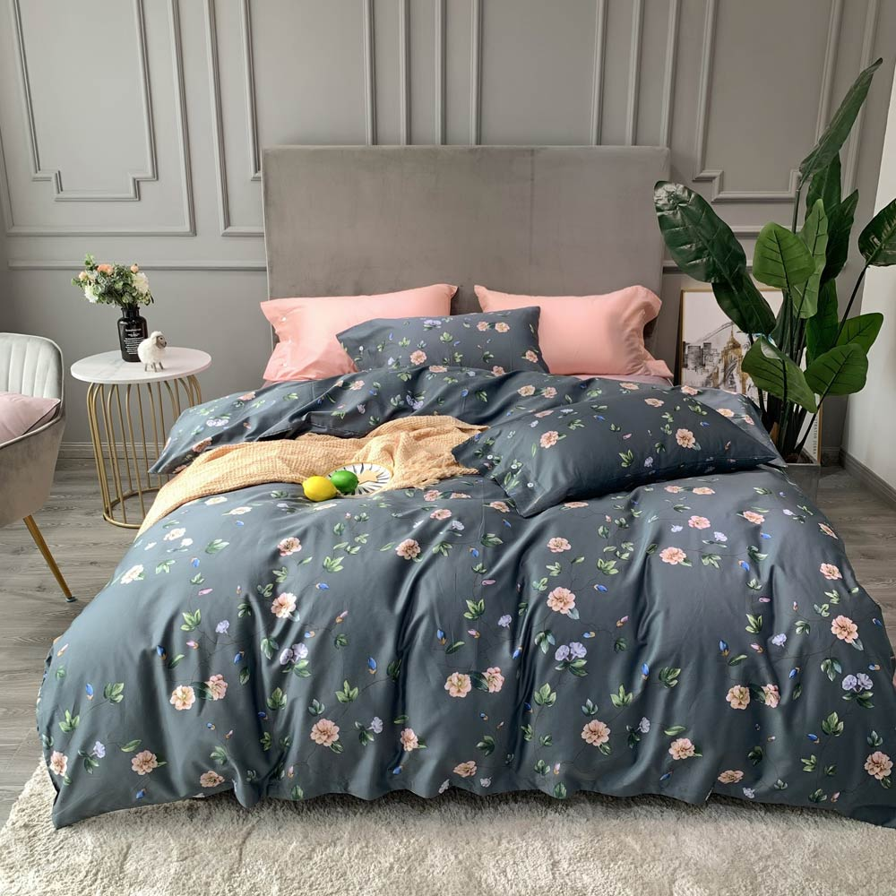 American Floral Flowers Grey Nordic High Count Egyptian Cotton Bedding Set Queen King Size Bedlinens Flat Sheet Duvet Cover Set
