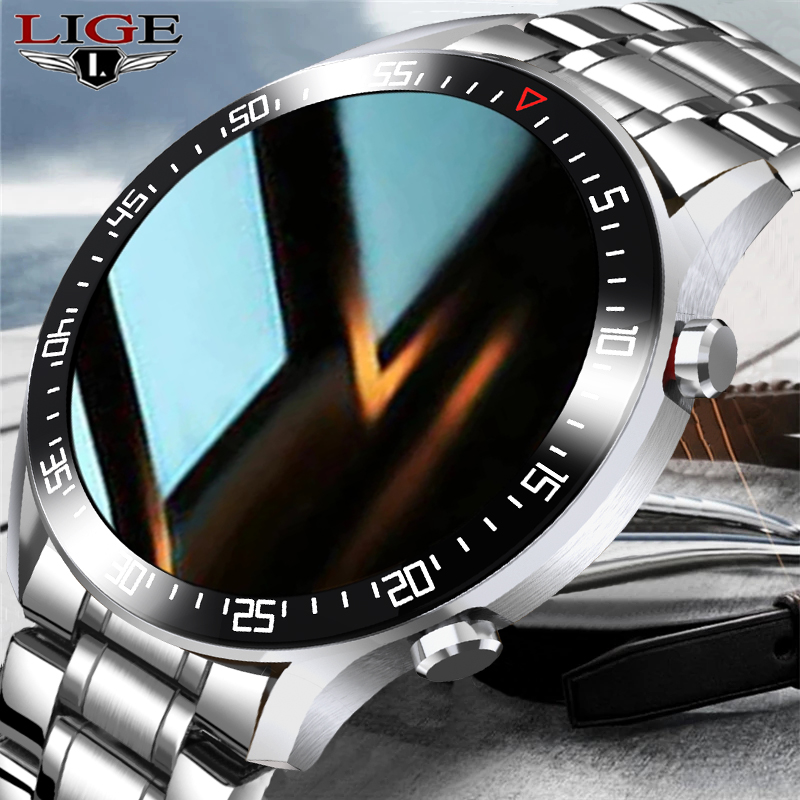 LIGE Smart Watch Men smartwatch LED Full Touch Screen For Android iOS Heart Rate Blood Pressure Innrech Market.com