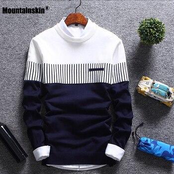 Alpinskin nouveau hommes automne hiver Pull laine Slim Fit tricoté chandail rayé hommes marque vêtements décontracté Pull Homme SA752