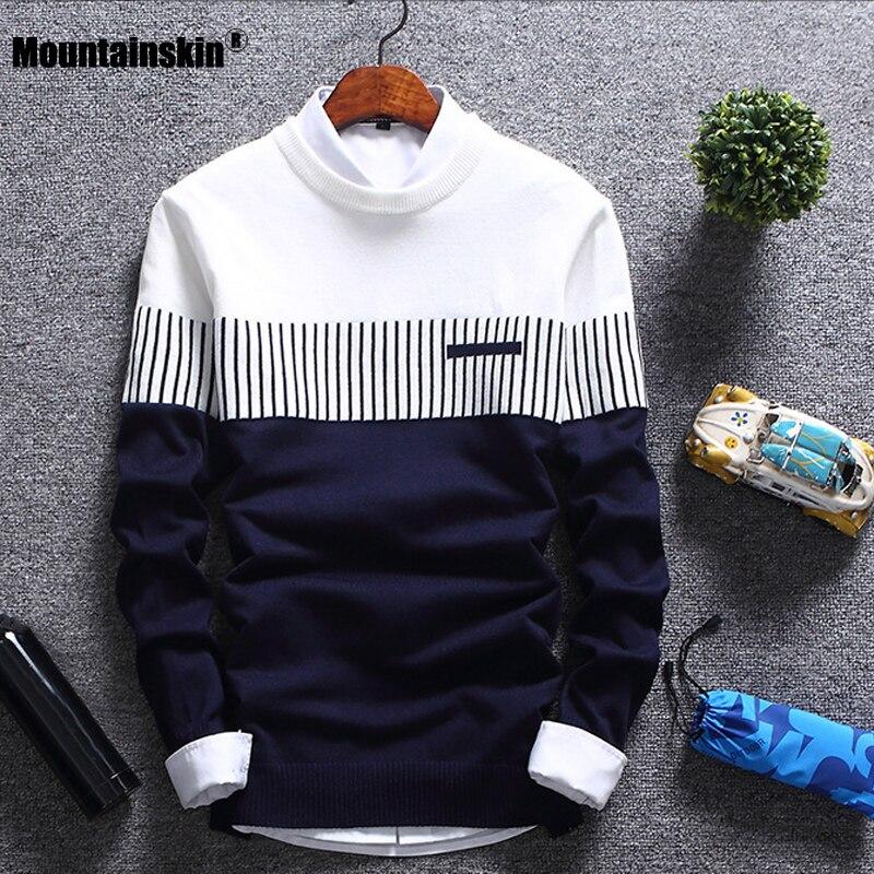 Mountainskin Neue Männer der Herbst Winter Pullover Wolle Slim Fit Gestrickte Pullover Gestreiften Herren Marke Kleidung Casual Pull Homme SA752