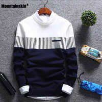 Mountainskin New Men's Autumn Winter Pullover Wool Slim Fit Knitted Sweater Striped Mens Brand Clothing Casual Pull Homme SA752