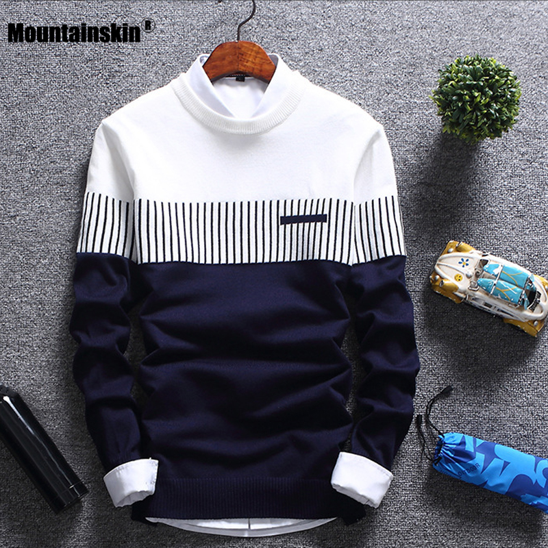 Mountainskin New Men's Autumn Winter Pullover Wool Slim Fit Knitted Sweater Striped Mens Brand Clothing Casual Pull Homme SA752 image
