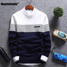 Mountainskin nowych mężczyzna jesień sweter zimowy wełna Slim Fit sweter z dzianiny w paski mężczyzna odzież marki Casual Pull Homme SA752 tanie tanio Blue Red White M L XL XXL Men s Sweater Mens Knitted Sweather Male Pullovers Dropshipping STANDARD O-neck Patchwork Standardowy wełny