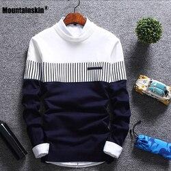 Mountainskin nowych mężczyzna jesień sweter zimowy wełna Slim Fit sweter z dzianiny w paski mężczyzna odzież marki Casual Pull Homme SA752