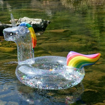 Giant All Transparent Sequin Flamingo Unicorn Shape Inflatable PVC Swimming Rings Pool Float Air Mattress Beach Water Fun Toy