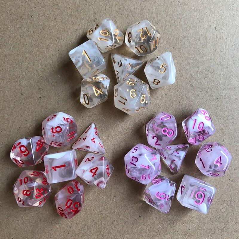 7 шт./компл. многогранные кости D& D4 D6 D8 D10 d% D12 D20 Прозрачный Многогранные TRPG игры Набор Игральный костей Настольная игра развлекательные кубики
