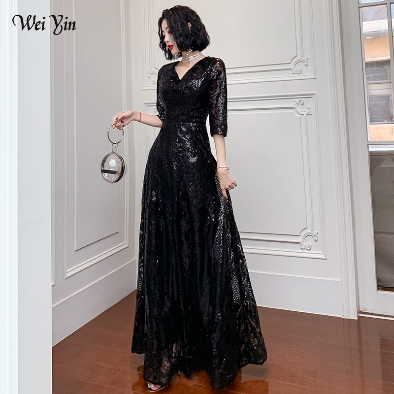 wei yin AE0196 Black   Evening     Dresses   Long 2019 Elegant V-neck A-line Floor-Length Sequined Formal   Evening   Gown