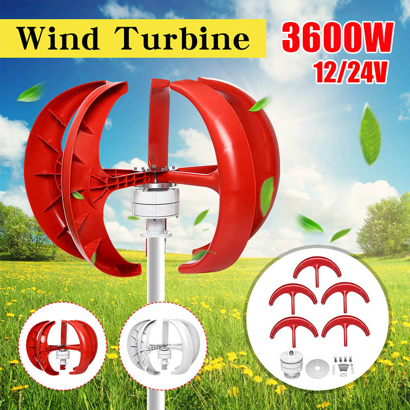 Wind Turbines Generator 3600W+Controller 12V 24V 5 Blades Lantern Vertical Axis Permanent Magnet Generator for Home Streetlight