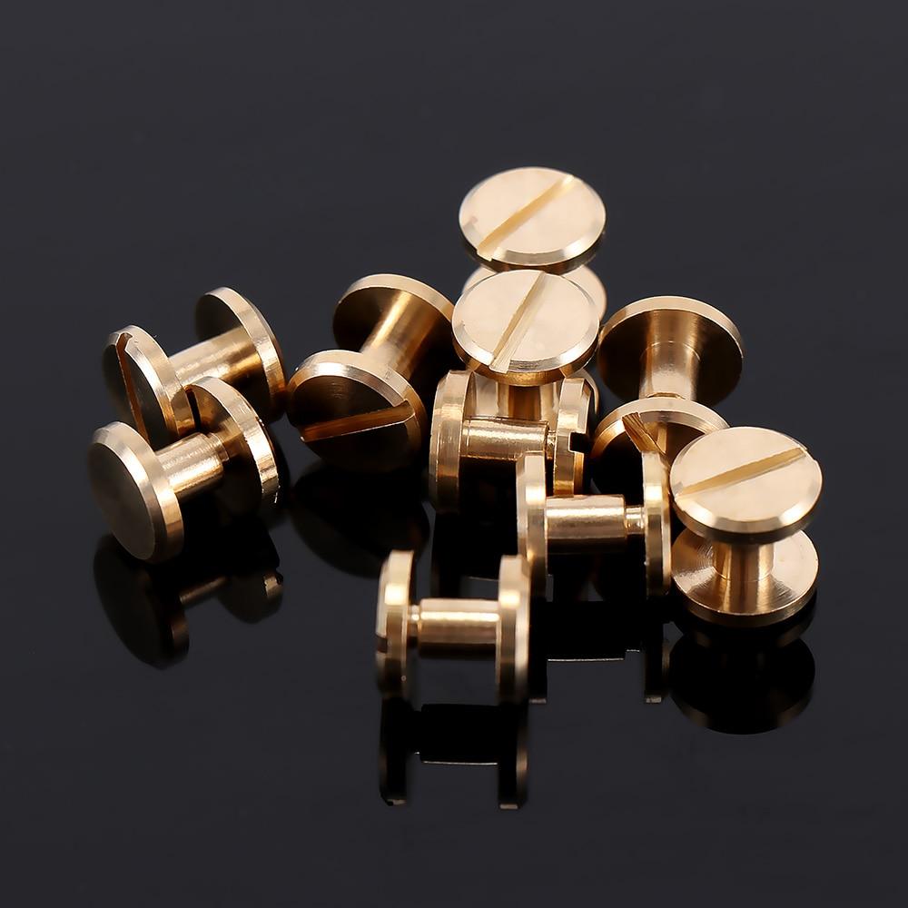 10pcs Flat Head Belt Solid Brass Button Stud Screw Nail Screw Pure Copper Brushed Back Leather Rivet Belt Bag 0.05/0.06/0.08cm
