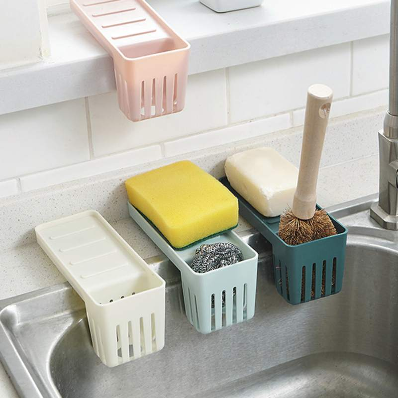 Kitchen Sink Shelf Soap Sponge Drain Rack Holder Storage Shelf Kitchen Tools Storage Suction Cup Hanging Drain Sink