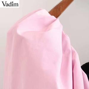 Image 3 - Vadim vrouwen stijlvolle patchwork fluwelen blouses lantaarn mouwen vrouwelijke toevallige korte stijl chic tops blusas mujer LB778