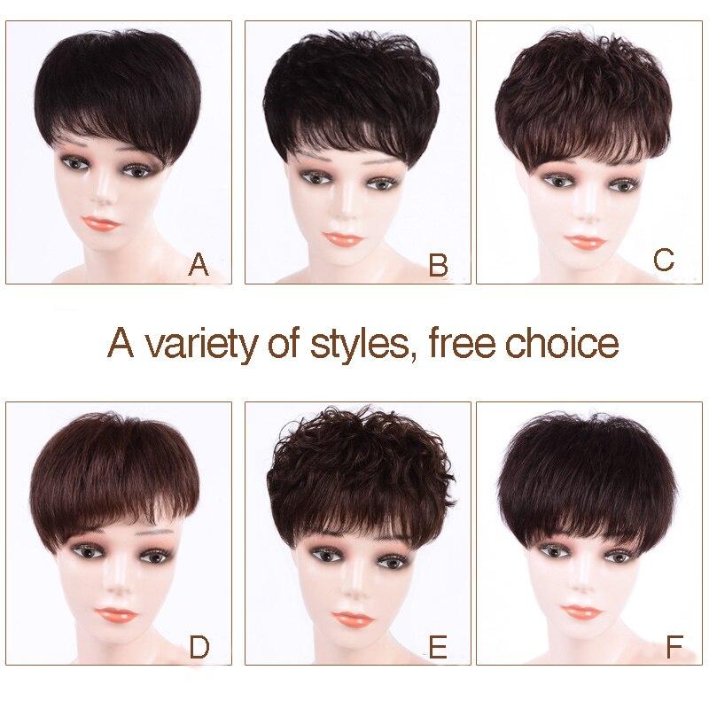 Salonchat cheveux Topper couleur Pure toupet postiches pour femmes/homme toupet avec frange fait à la main Remy Extensions de cheveux humains pince Ins