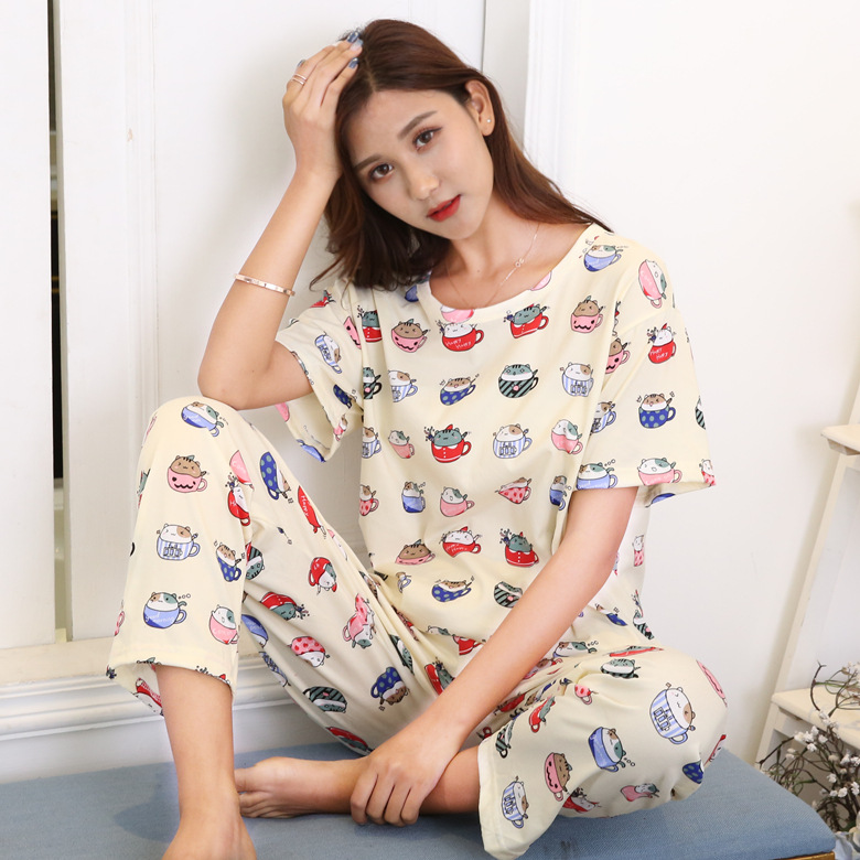 Summer Pajamas WOMEN'S Short Sleeved Trousers Set Word Cup Cat M-XXL (13 Yuan) 110 Grams 2019 New Style Now