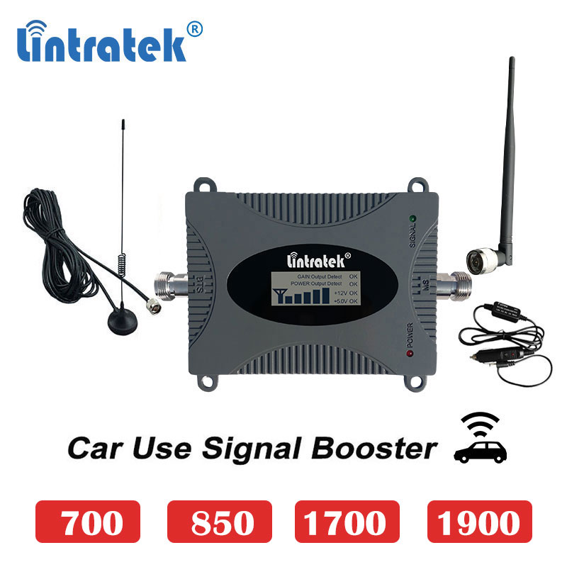 Lintratek Car Use Cdma 850mhz 2G 3G Cellular Booster 1700 4G 1900 Umts 3G B13 700 Mobile Cellphone Signal Repeater Amplifier S6