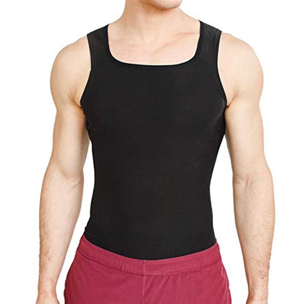 Mens Slimming Body Shaper Vest to Hide Man Boobs Shapewear Compression Shirt Abs Abdomen Slim Undershirt