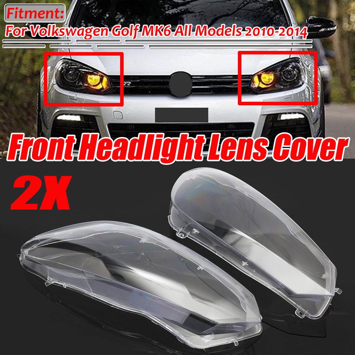 2Pcs Car Clear Front Headlight Headlamp Lenses Cover Dust Shell Plastic For VW For Volkswagen Golf 6 MK6 GTI R 2010-2014