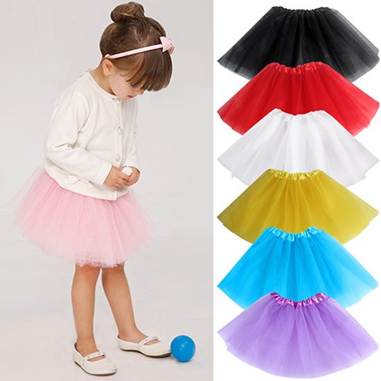 Girls' Lovely Multi Layers Tulle Elastic Waist Puffy Skirt Tu Tu Princess Dressfor Children Girl Stage Performance