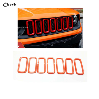 NEW!!!  7 Pcs/Set ABS MATERIAL UV PROTECTED  FRONT GRILLE TRIM RING INSERTS MOPAR GENUINE FOR JEEP RENEGADE 2015 2016 2017